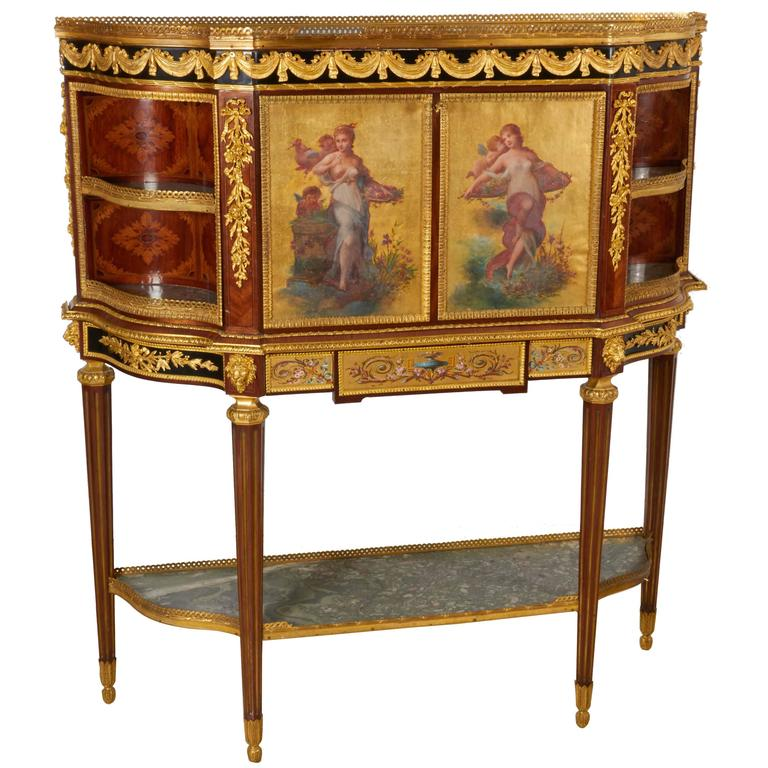 Exceptional French Ormolu-Mounted Mahogany Marquetry Secretaire A Abattant Desk