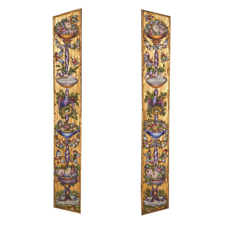 Very Fine Pair Of Italian Venetian Gold Micromosaic Wall Plaques Decor