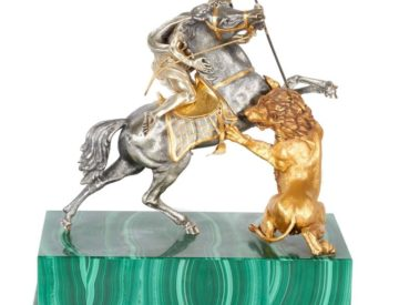 Fine Italian Silver And Silver Gilt Orientalist Sculpture On Malachite Base