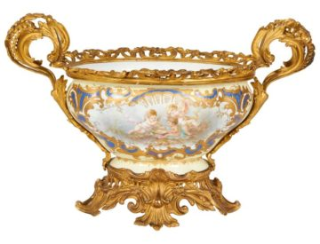 French Ormolu-Mounted White Sevres Style Porcelain Centerpiece
