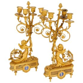 Louis XVI Style French Ormolu Bronze Four-Light Candelabra Pair Alfred Beurdeley