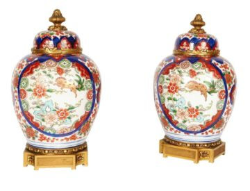 Pair Of French Ormolu-Mounted Japanese Imari Porcelain Vases Covers Millet Paris