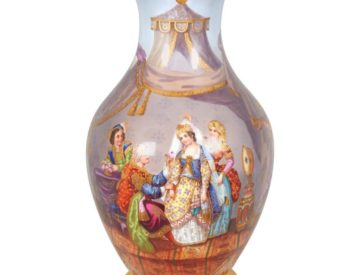 French Hand-Painted Porcelain Vase For The Turkish Ottoman Market / Orientalist