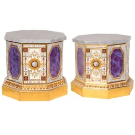 Important Pair Of Vienna Sorgenthal Porcelain Pedestals Bases