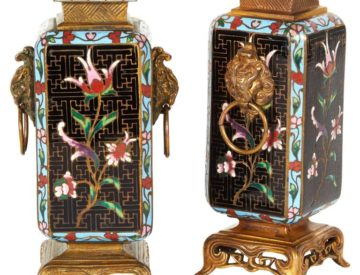 Pair Of French Japonisme Ormolu And Champlevé Cloisonné Enamel Vases