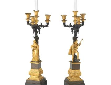 Pair Of French Ormolu And Patinated Bronze Four-Light Candelabra Lamps