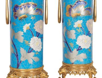Pair Of French Japonisme Ormolu-Mounted Blue Porcelain Vases Creil Et Montereau