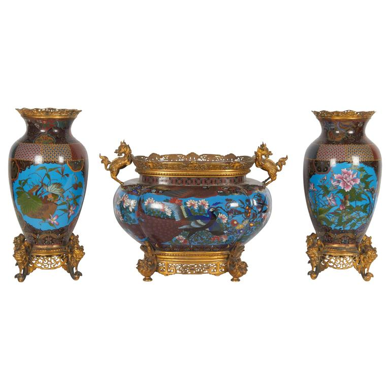 French Japonisme Ormolu-Mounted Japanese Cloisonné Enamel Garniture Centerpiece