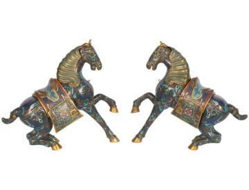 Pair Of Chinese Cloisonné Enamel Green Horses / Zebra Archaistic