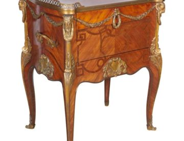 French Ormolu-Mounted Kingwood Tulipwood & Parquetry Table À Ecrire After Oeben