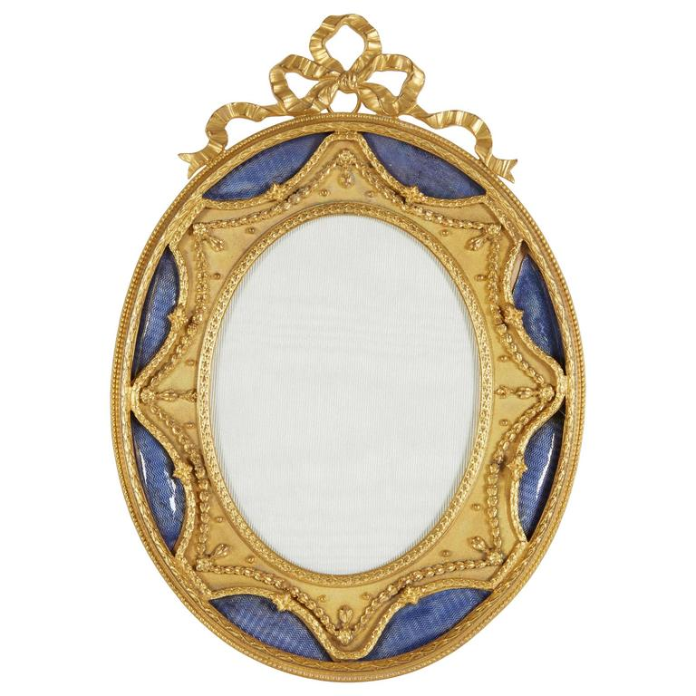 French Gilt Bronze Ormolu And Blue Guilloche Enamel Picture Photo Frame