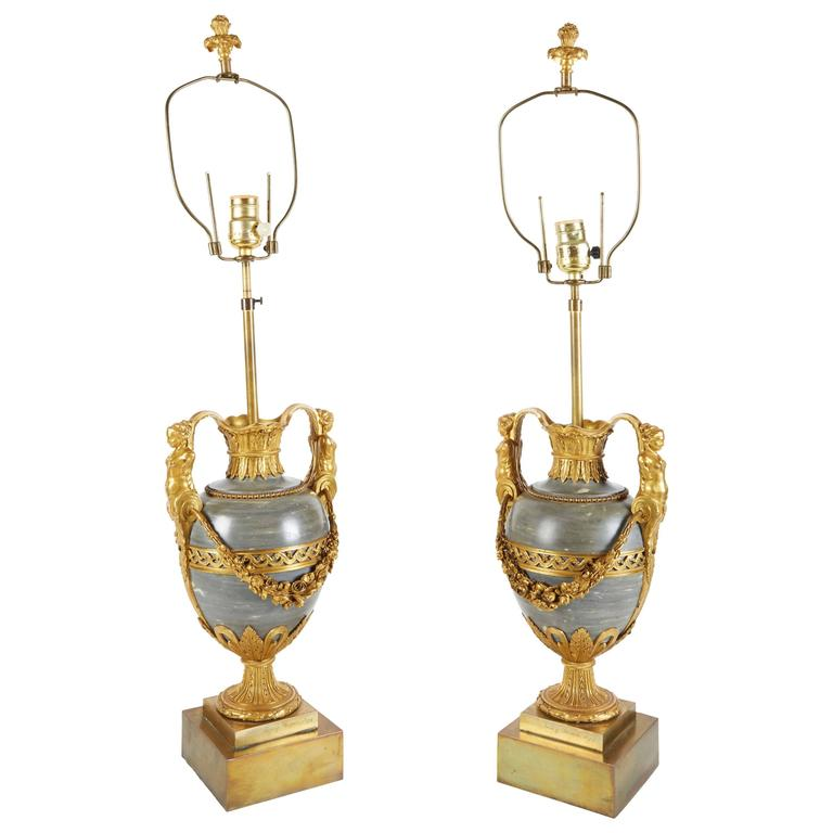 Pair Of French Ormolu-Mounted Bleu Turquin Marble Lamps Vases By Henry Dasson
