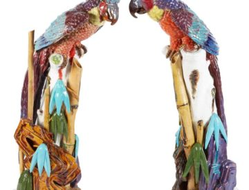 Unusual Pair Of Rainbow Terracotta Majolica Porcelain Parrots