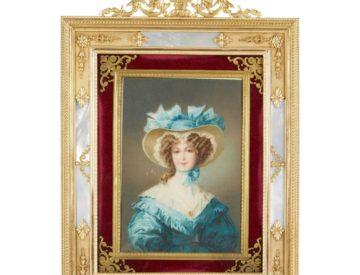 French Gilt Bronze Ormolu And Mother Of Pearl Velvet Picture Photo Frame