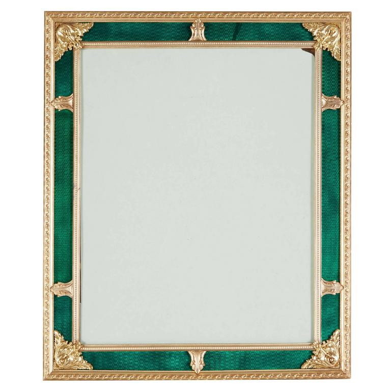 French Gilt Bronze Ormolu & Green Guilloche Enamel Picture Photo Frame