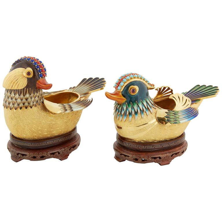 Pair Of Chinese 14-Karat Solid Gold And Enamel Ducks Birds Object