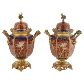 Pair Of French Japonisme Ormolu Red Champlevé Cloisonné Enamel Vases & Covers