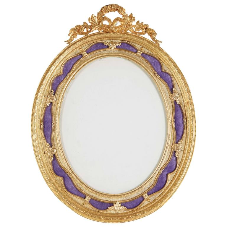 French Gilt Bronze Ormolu And Purple Guilloche Enamel Picture Photo Frame