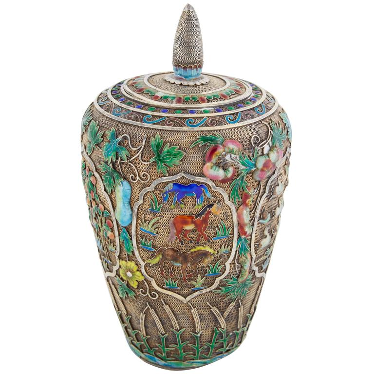 Chinese Silver Filigree and Enamel Enameled Tea Caddy