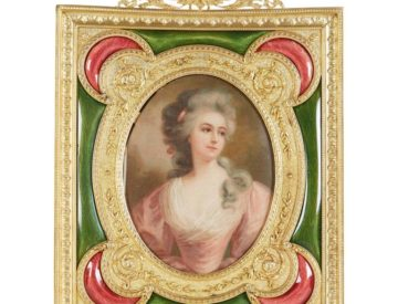 French Gilt Bronze Ormolu Pink And Green Guilloche Enamel Picture Photo Frame