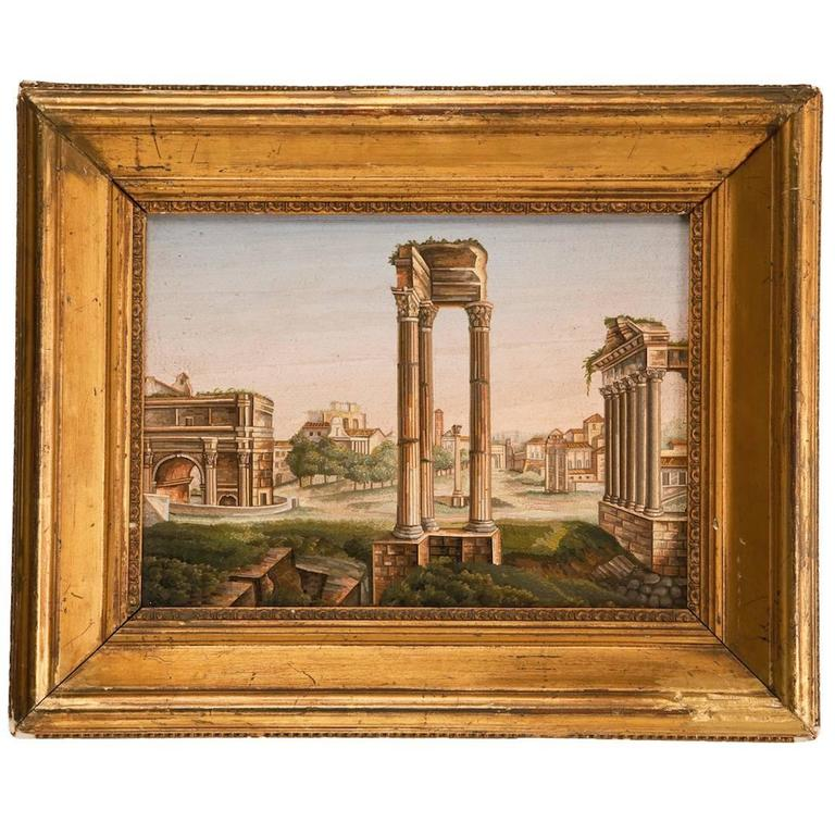 "Very Fine Italian Micromosaic Plaque ""The Roman Forum"" In Original Frame"