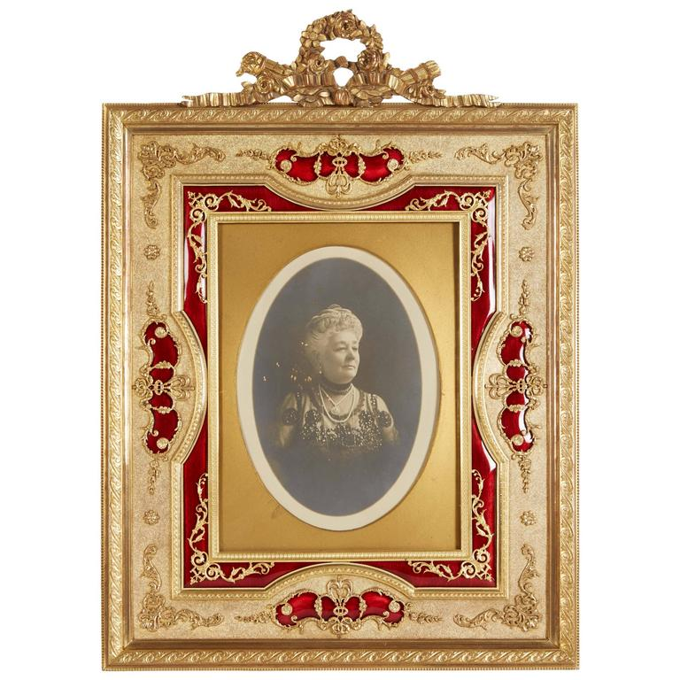 French Gilt Bronze Ormolu And Red Guilloche Enamel Picture Photo