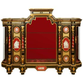 "Highly Important Ormolu-Mounted KPM Porcelain ""Exhibition"" Vitrine Cabinet"