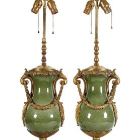 Pair Of French Ormolu Bronze Mounted Chinese Celadon Porcelain Table Lamps