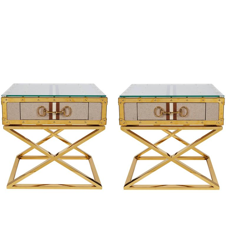 Pair Modern Contemporary Gucci Inspired Polished Brass Side Tables Nightstands