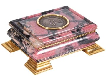 18-Karat Gold-Mounted Russian Rhodonite Box For Tennis & Racquet Association