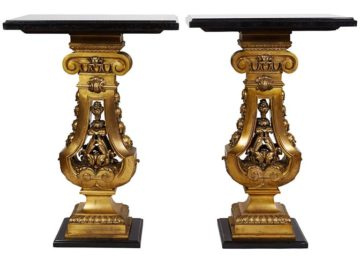 Pair Of French Belle Époque Ormolu Bronze Side Tables With Black Marble Tops