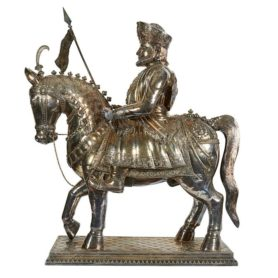 Monumental Colonial Indian Silver Over Wood Figure Of A Bombay Cavalryman
