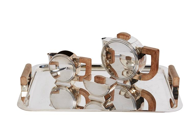 French Art Deco Silverplate & Wood Tea Set Christofle By Christian Fjerdingstad