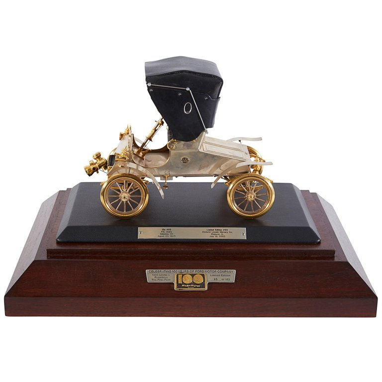 "Rare Sterling Silver and Gold 1903 Scale Model ""A"" Ford with Diamonds and Rubies"