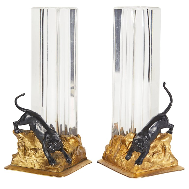 Pair Of French Gilt And Patinated Bronze And Crystal Glass Vases With Panthers