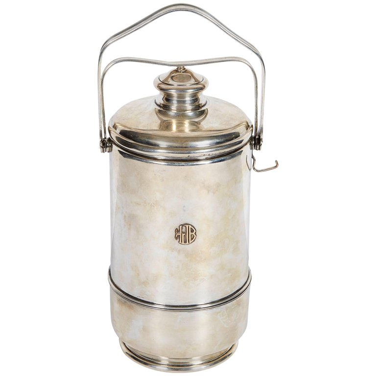 Cartier French Sterling Silver and Gold Ice Bucket with Cover, circa 1950