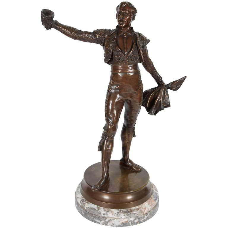"French Bronze Figure Sculpture Of A Spanish Matador ""Le Matador"" By Edmond Desca"