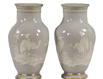 Pair Of 19th C. French Baccarat Opaline Vases