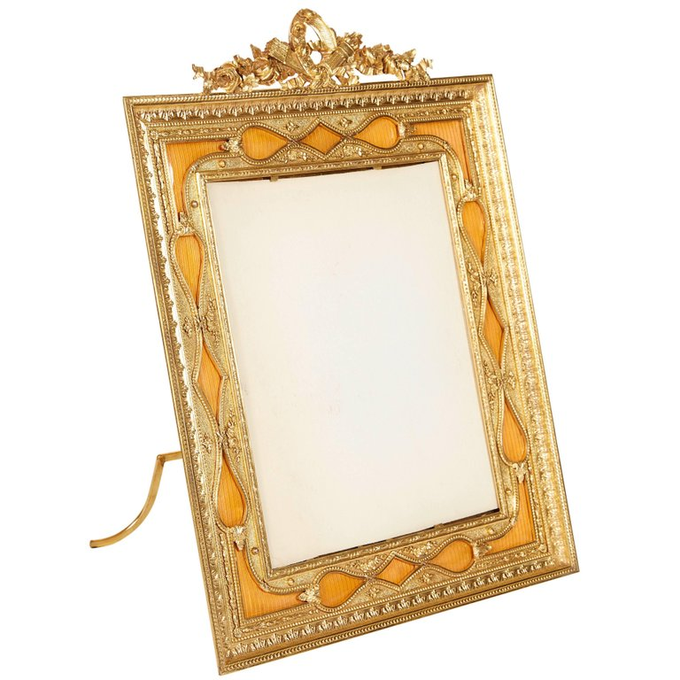 French Gilt Bronze Ormolu And Orange Guilloche Enamel Picture Photo Frame