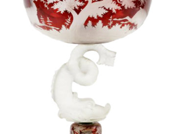 19th C. Bohemian Cut Ruby Glass Compote