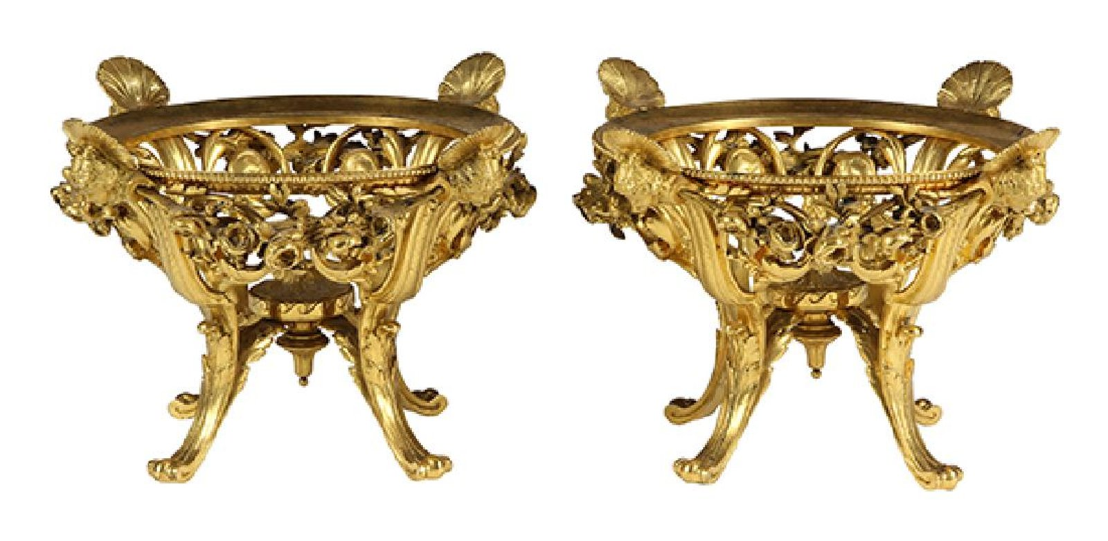 Pair of French Ferdinand Barbedienne Gilt Bronze Ormolu Center Pieces Bowls