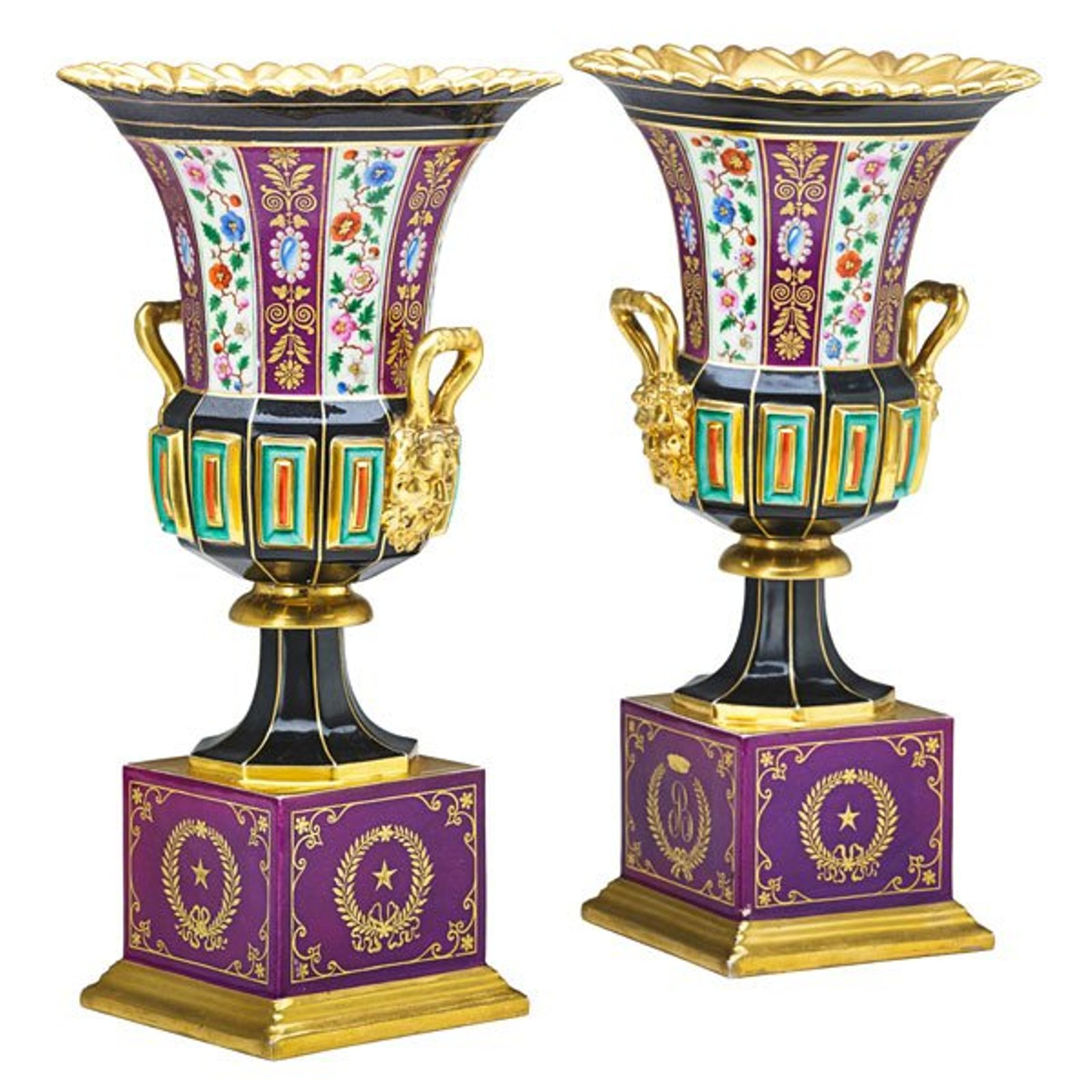 Pair of French Paris Porcelain Vases 19th Century