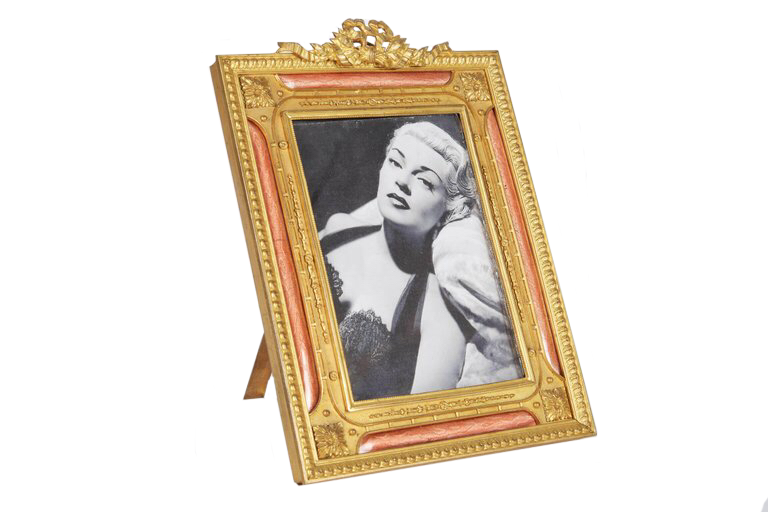 A French Gilt Bronze Ormolu And Pink Guilloche Enamel Picture Photo Frame, 19C