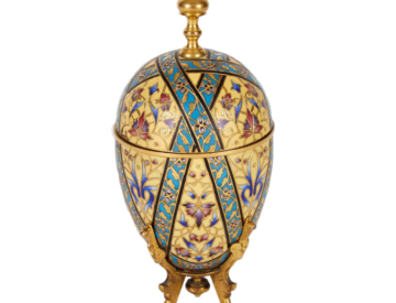 Ferdinand Barbedienne: A French Bronze Champleve Cloisonne Enamel Egg Form Box