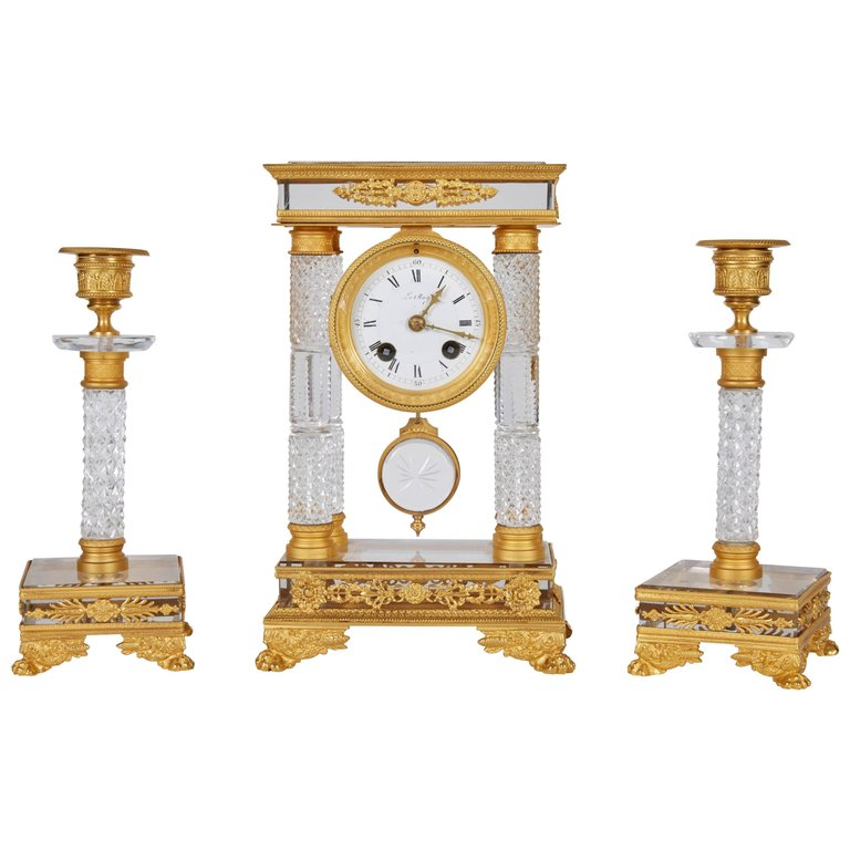 Exquisite French Gilt-Bronze & Crystal Glass Clock Set Garniture w. Candlesticks