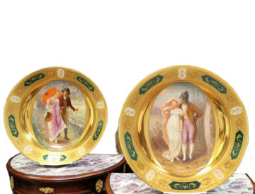 Large Pair Of 19th C. Royal Vienna Austrian Porcelain Plates Beehive mark. Signed Seler W 16.4″