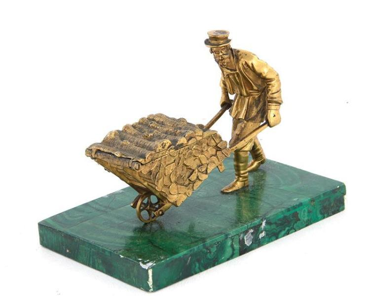 Russian Gilt Bronze Sculpture Wheel Barrow on Faux Malachite Base
