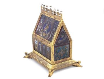 Fine Renaissance Style Gilt-metal Decorated Stained Glass Reliquary Chasse