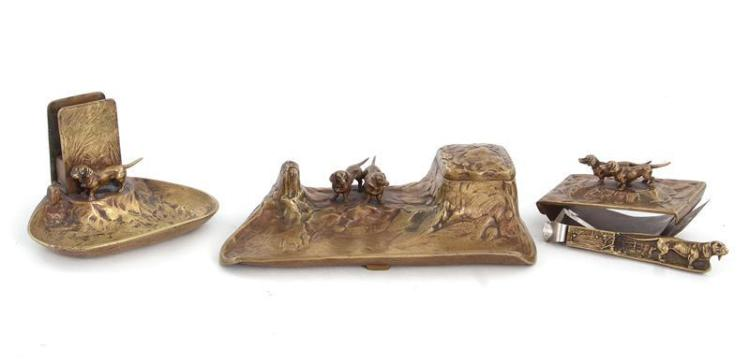 Art Nouveau Dachshund Gentleman's Desk Set, Signed (4pcs)