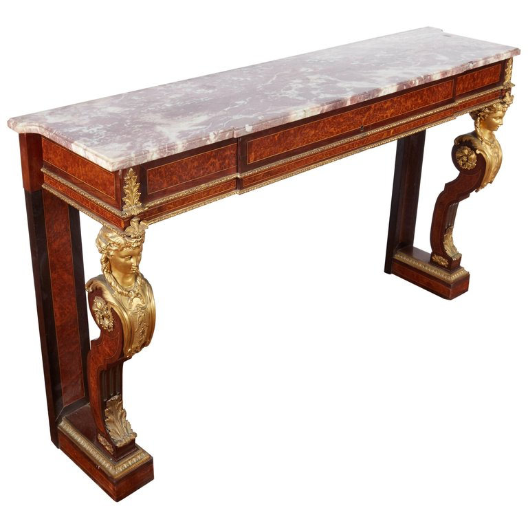 Exquisite French Ormolu-Mounted Console Table with Marble Top, 19th Century